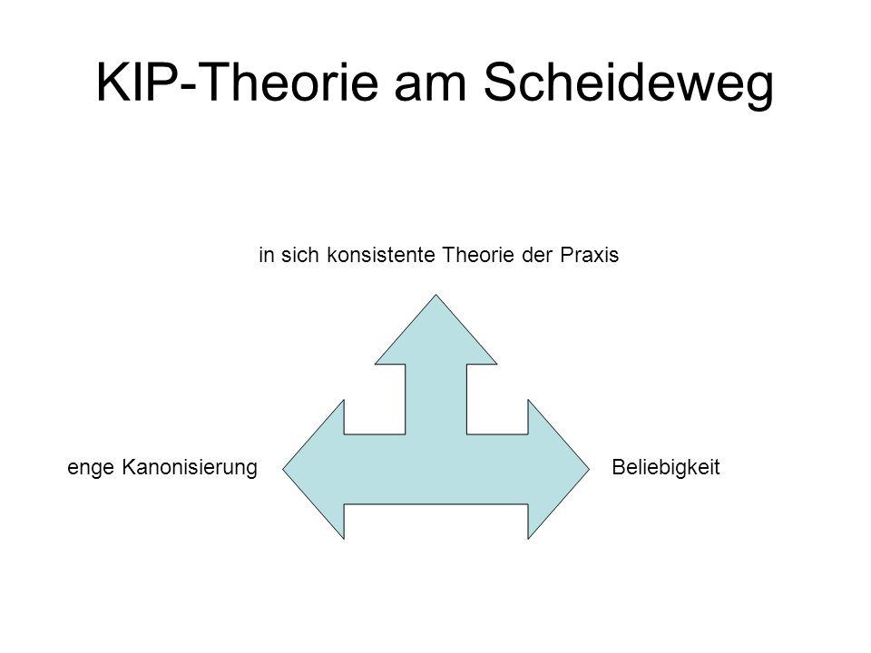 KIP-Theorie am Scheideweg in sich konsistente Theorie der Praxis Beliebigkeit enge Kanonisierung