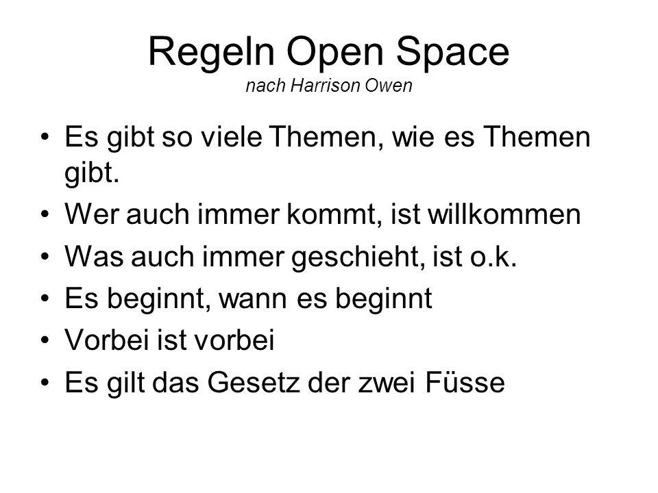 Regeln Open Space nach Harrison Owen Es gibt so viele Themen, wie es Themen gibt. Wer auch immer kommt, ist willkommen Was auch immer geschieht, ist o