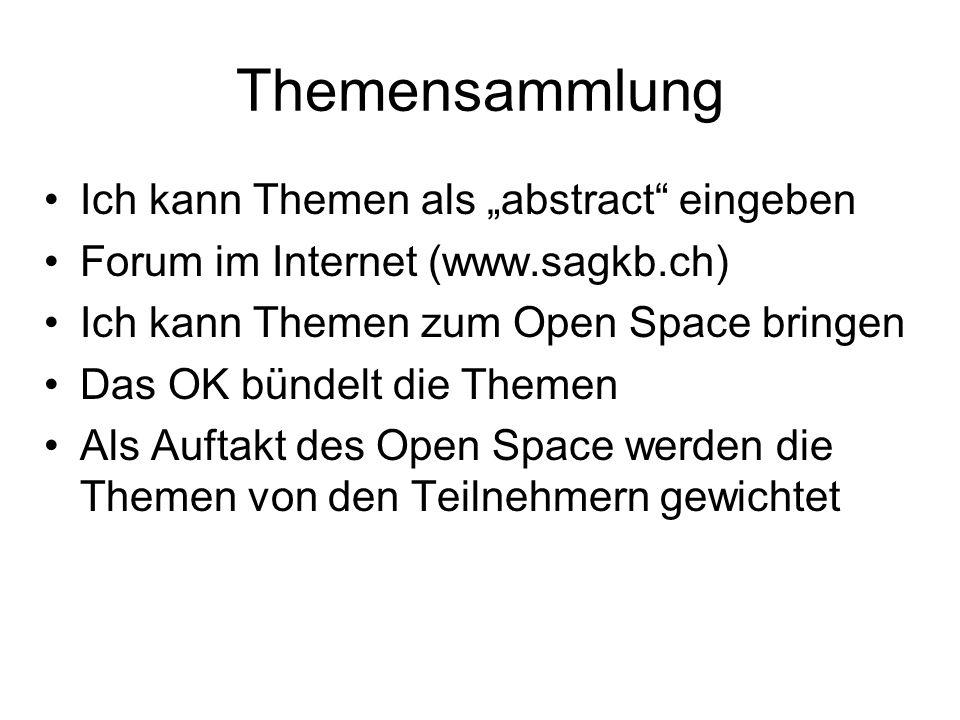 Themensammlung Ich kann Themen als abstract eingeben Forum im Internet (www.sagkb.ch) Ich kann Themen zum Open Space bringen Das OK bündelt die Themen