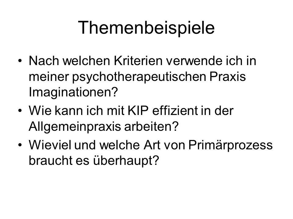Themenbeispiele Nach welchen Kriterien verwende ich in meiner psychotherapeutischen Praxis Imaginationen? Wie kann ich mit KIP effizient in der Allgem
