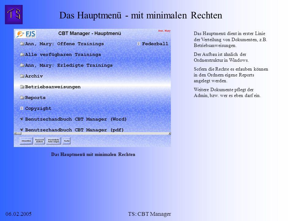 06.02.2005TS: CBT Manager Das Hauptmenü dient in erster Linie der Verteilung von Dokumenten, z.B.