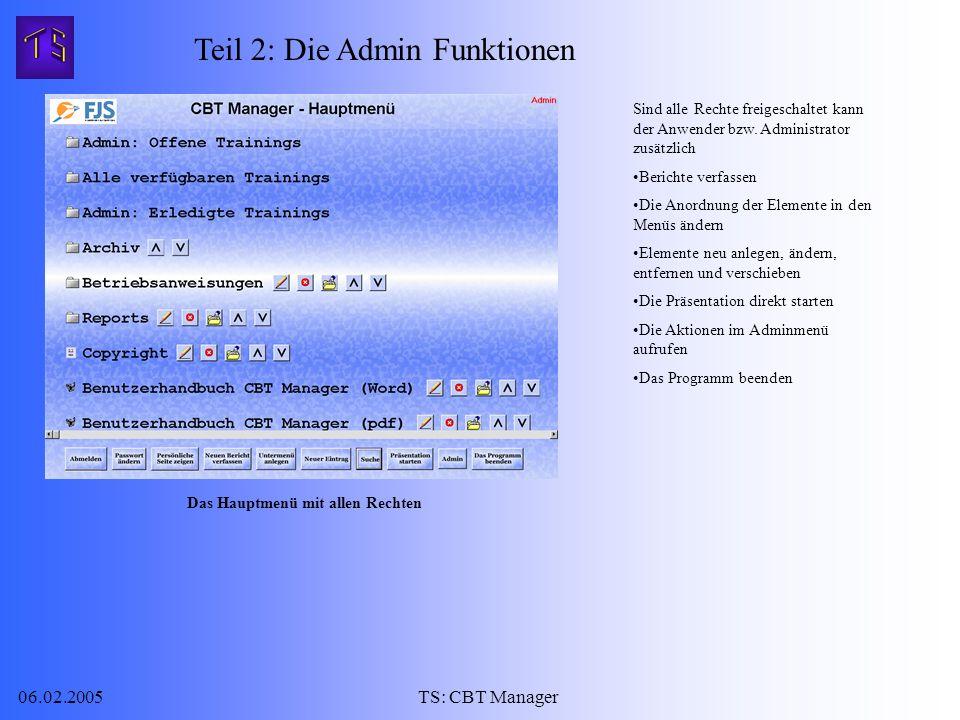06.02.2005TS: CBT Manager Sind alle Rechte freigeschaltet kann der Anwender bzw.