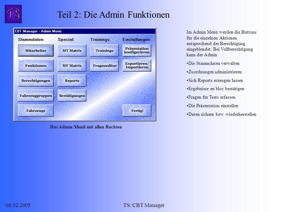 06.02.2005TS: CBT Manager Im Admin Menü werden die Buttons für die einzelnen Aktionen entsprechend der Berechtigung eingeblendet.