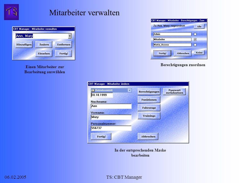 06.02.2005TS: CBT Manager Mitarbeiter verwalten Einen Mitarbeiter zur Bearbeitung auswählen In der entsprechenden Maske bearbeiten Berechtigungen zuordnen