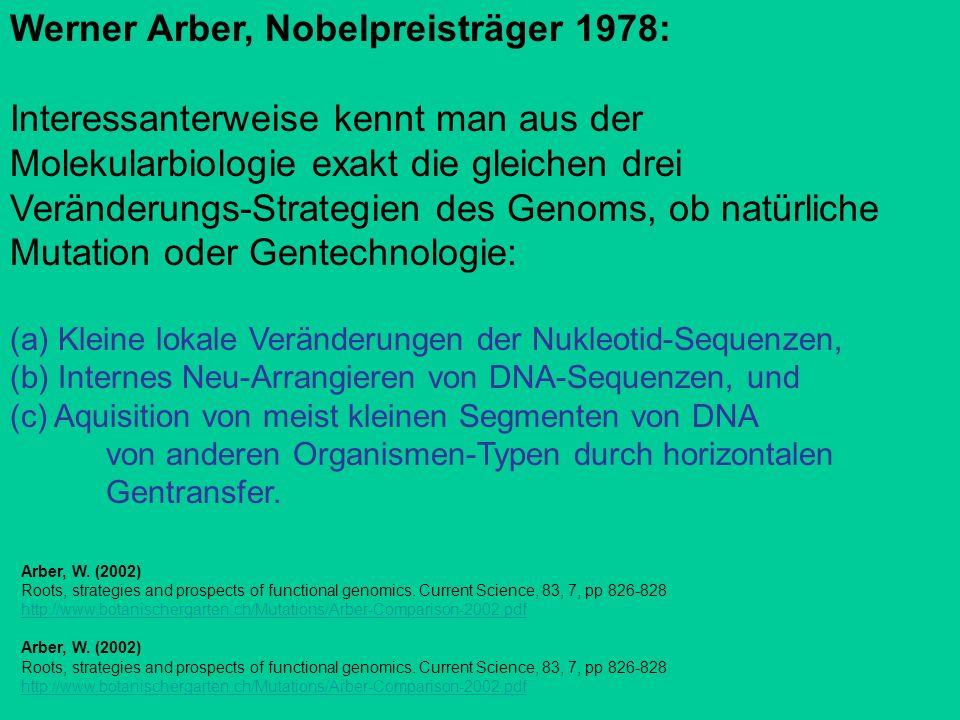 Werner Arber, Nobelpreisträger 1978: Interessanterweise kennt man aus der Molekularbiologie exakt die gleichen drei Veränderungs-Strategien des Genoms, ob natürliche Mutation oder Gentechnologie: (a) Kleine lokale Veränderungen der Nukleotid-Sequenzen, (b) Internes Neu-Arrangieren von DNA-Sequenzen, und (c) Aquisition von meist kleinen Segmenten von DNA von anderen Organismen-Typen durch horizontalen Gentransfer.