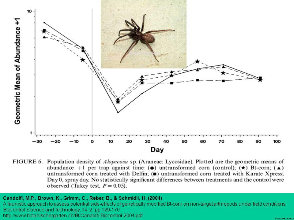 Alopecosa: keine Unterschiede Candolfi, M.P., Brown, K., Grimm, C., Reber, B., & Schmidli, H.