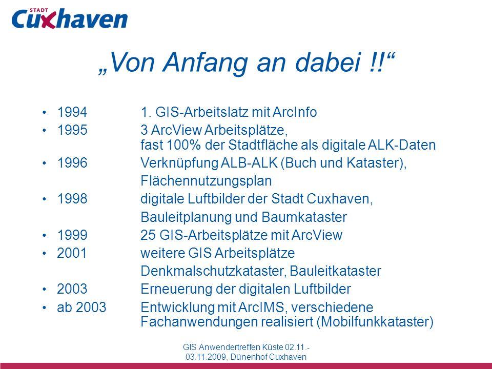 Von Anfang an dabei !! GIS Anwendertreffen Küste 02.11.- 03.11.2009, Dünenhof Cuxhaven 19941. GIS-Arbeitslatz mit ArcInfo 19953 ArcView Arbeitsplätze,