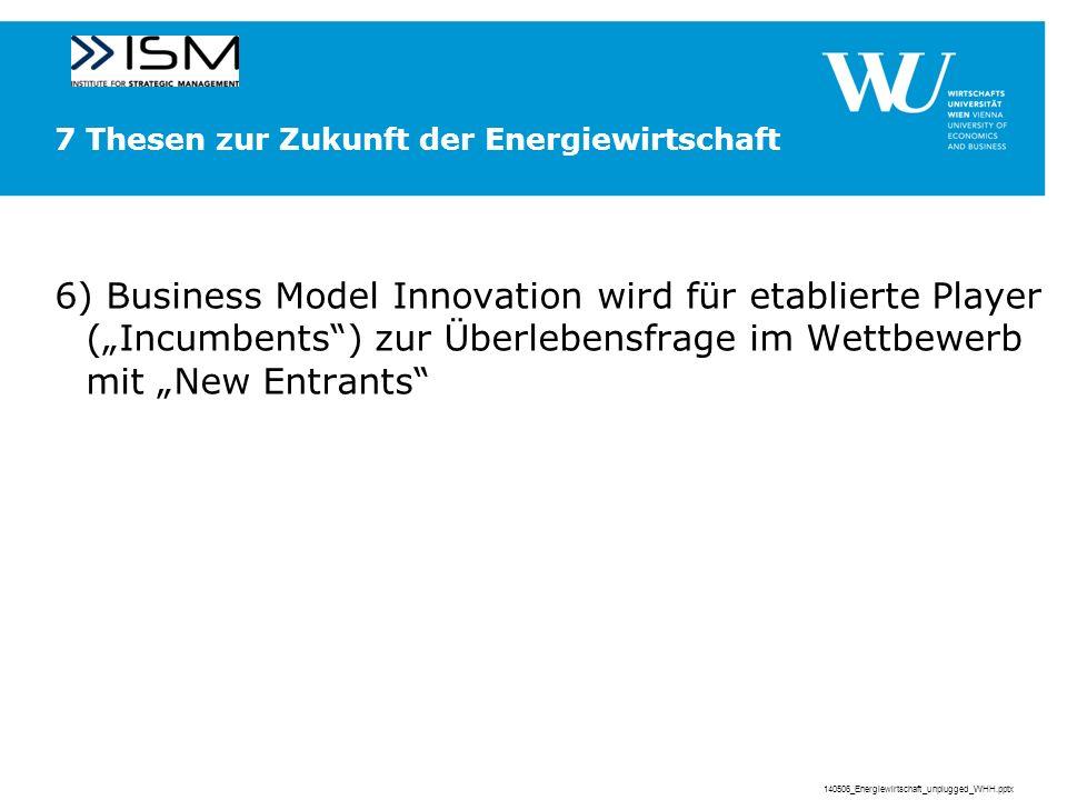 7 Thesen zur Zukunft der Energiewirtschaft 6) Business Model Innovation wird für etablierte Player (Incumbents) zur Überlebensfrage im Wettbewerb mit New Entrants 140506_Energiewirtschaft_unplugged_WHH.pptx