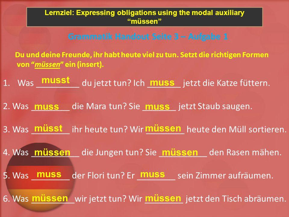 Lernziel: Expressing obligations using the modal auxiliary müssen Grammatik Handout Seite 3 – Aufgabe 2 Alle müssen heute etwas tun.