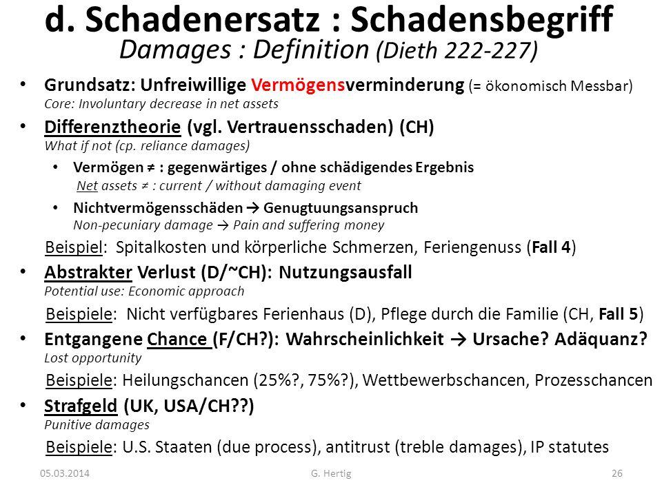 05.03.2014 d. Schadenersatz : Schadensbegriff Damages : Definition (Dieth 222-227) Grundsatz: Unfreiwillige Vermögensverminderung (= ökonomisch Messba