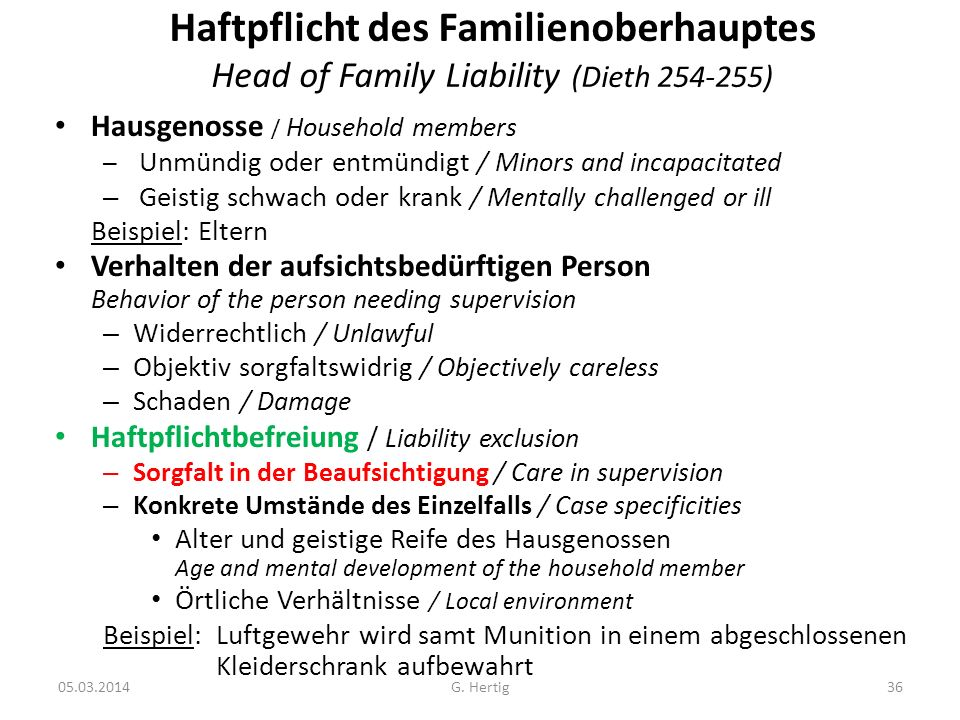 05.03.2014 Haftpflicht des Familienoberhauptes Head of Family Liability (Dieth 254-255) Hausgenosse / Household members – Unmündig oder entmündigt / M