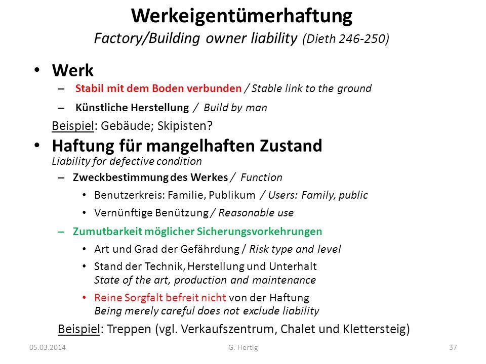 05.03.2014 Werkeigentümerhaftung Factory/Building owner liability (Dieth 246-250) Werk – Stabil mit dem Boden verbunden / Stable link to the ground –