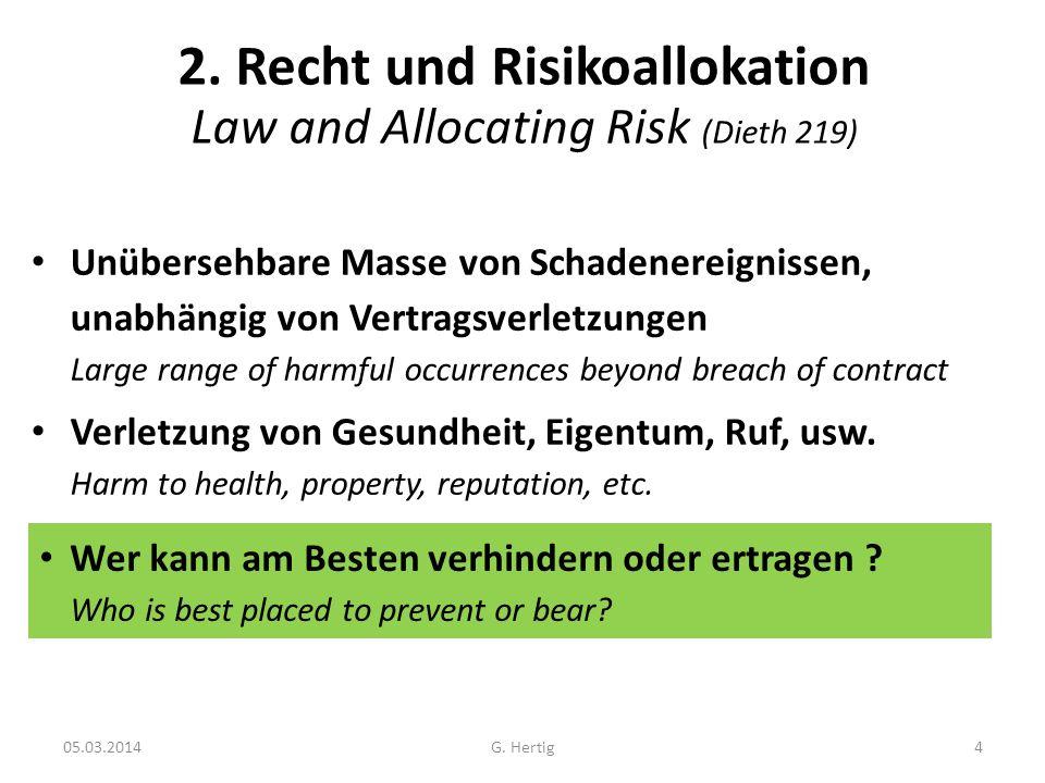 05.03.2014 2. Recht und Risikoallokation Law and Allocating Risk (Dieth 219) Unübersehbare Masse von Schadenereignissen, unabhängig von Vertragsverlet