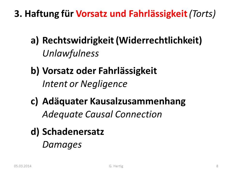 05.03.2014 3. Haftung für Vorsatz und Fahrlässigkeit (Torts) a)Rechtswidrigkeit (Widerrechtlichkeit) Unlawfulness b)Vorsatz oder Fahrlässigkeit Intent