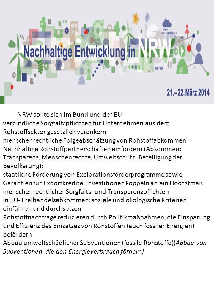 NRW sollte sich im Bund und der EU verbindliche Sorgfaltspflichten für Unternehmen aus dem Rohstoffsektor gesetzlich verankern menschenrechtliche Folg