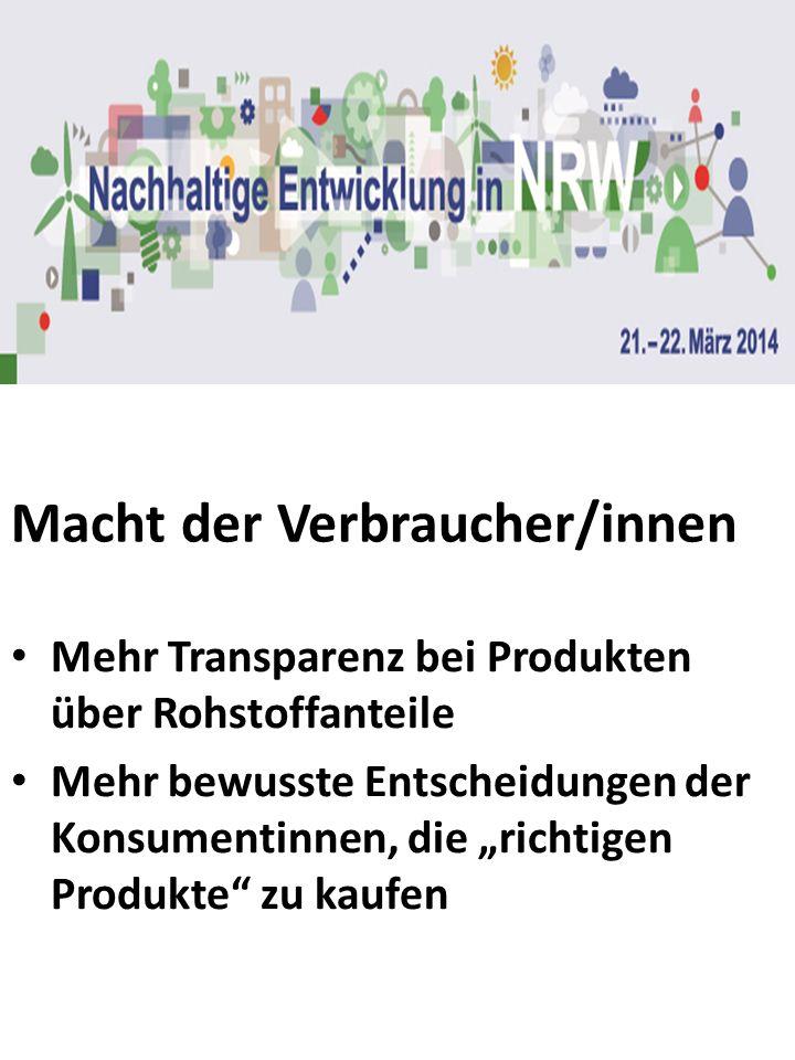 Macht der Verbraucher/innen Mehr Transparenz bei Produkten über Rohstoffanteile Mehr bewusste Entscheidungen der Konsumentinnen, die richtigen Produkt