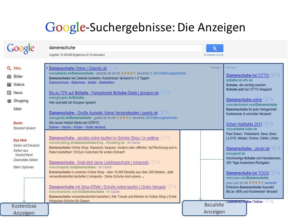 Google -Suchergebnisse: Die Anzeigenposition Position 1 Position 2 Position 3 Positionen 4-8 Die Anzeige- Position ist abhängig von mehreren Faktoren: z.B.: Relevanz Ihrer Homepage zum Suchbegriff, Qualität Ihrer Homepage, Ihr Gebot für den Suchbegriff