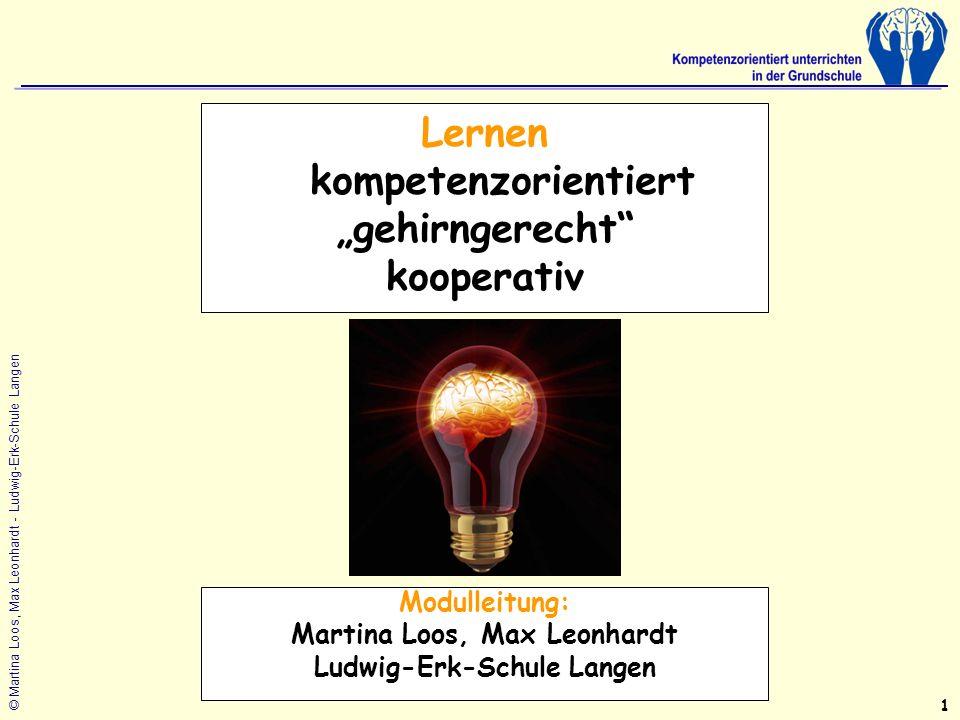 © Martina Loos, Max Leonhardt - Ludwig-Erk-Schule Langen Lernen kompetenzorientiert gehirngerecht kooperativ Modulleitung: Martina Loos, Max Leonhardt Ludwig-Erk-Schule Langen 1