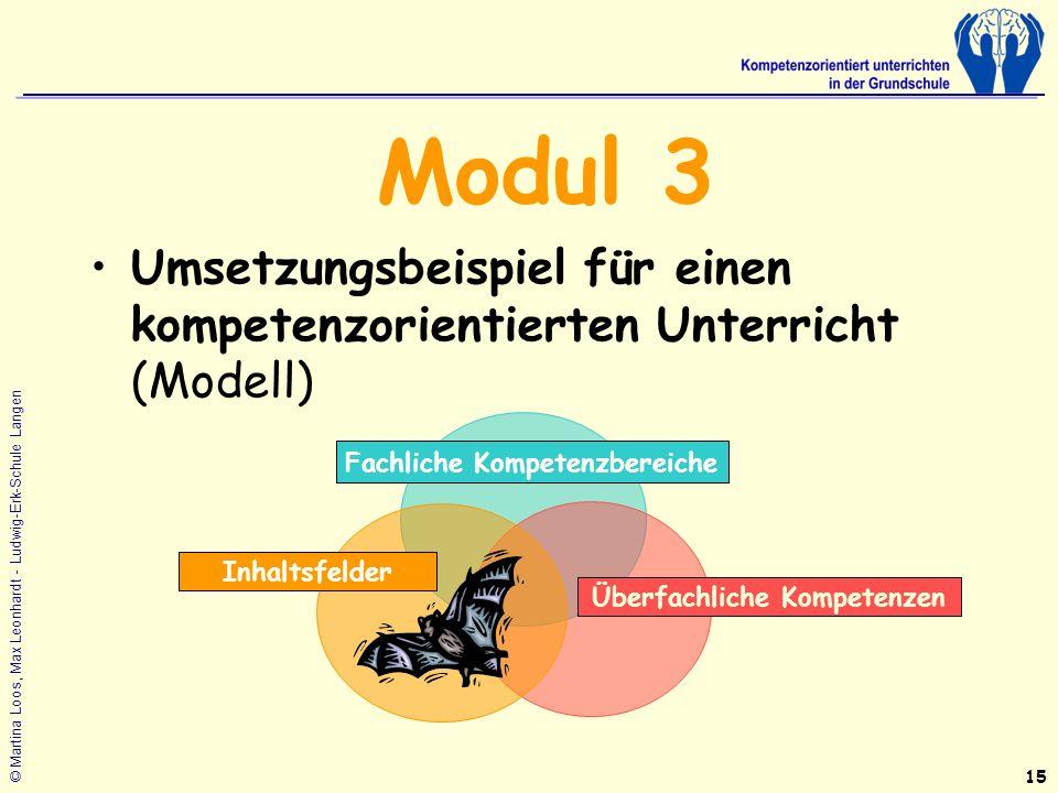 © Martina Loos, Max Leonhardt - Ludwig-Erk-Schule Langen Modul 3 Umsetzungsbeispiel für einen kompetenzorientierten Unterricht (Modell) 15 Fachliche Kompetenzbereiche Überfachliche Kompetenzen Inhaltsfelder