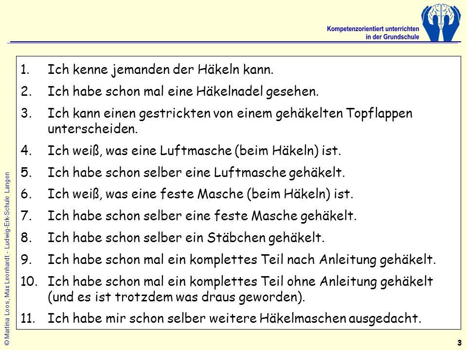 © Martina Loos, Max Leonhardt - Ludwig-Erk-Schule Langen 1.Ich kenne jemanden der Häkeln kann.