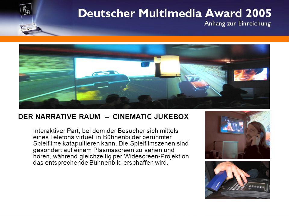 DER NARRATIVE RAUM - CINEMATIC JUKEBOX DER NARRATIVE RAUM – CINEMATIC JUKEBOX Interaktiver Part, bei dem der Besucher sich mittels eines Telefons virtuell in Bühnenbilder berühmter Spielfilme katapultieren kann.