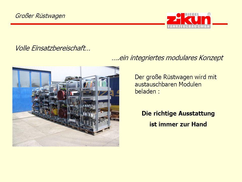 Großer Rüstwagen Volle Einsatzbereischaft… ….ein integriertes modulares Konzept Der große Rüstwagen wird mit austauschbaren Modulen beladen : Die rich