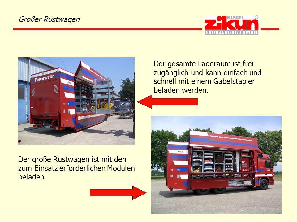 Großer Rüstwagen Der gesamte Laderaum ist frei zugänglich und kann einfach und schnell mit einem Gabelstapler beladen werden. Der große Rüstwagen ist