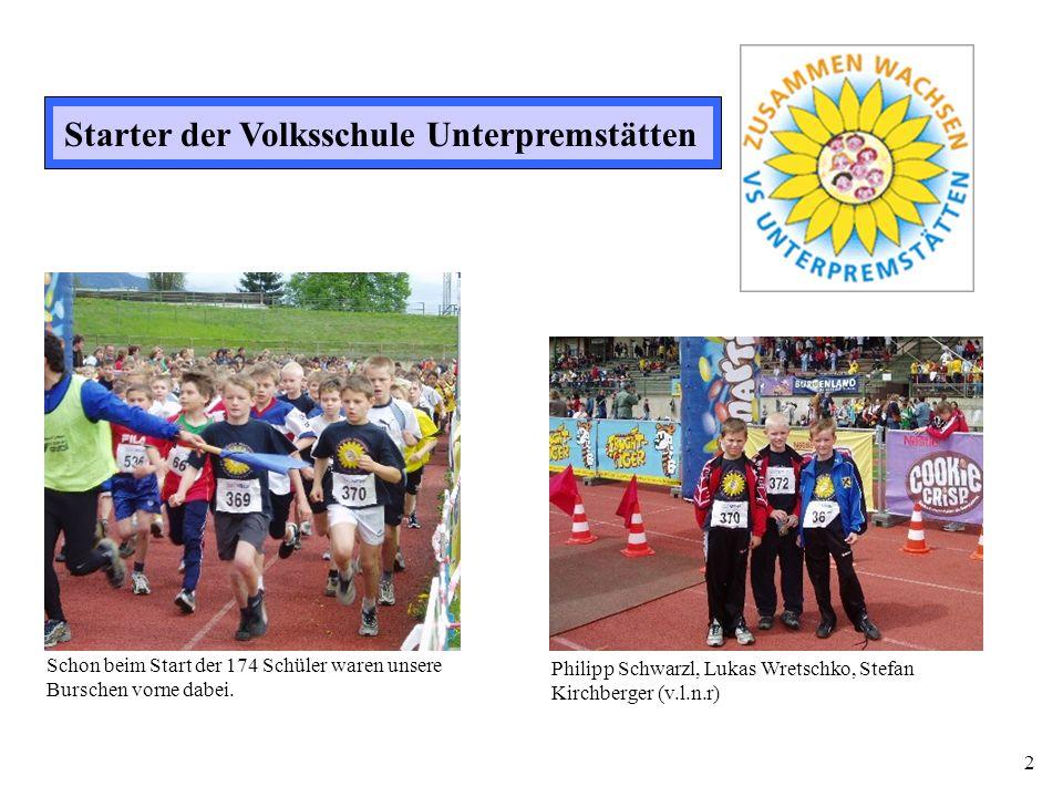 2 Starter der Volksschule Unterpremstätten Philipp Schwarzl, Lukas Wretschko, Stefan Kirchberger (v.l.n.r) Schon beim Start der 174 Schüler waren unse