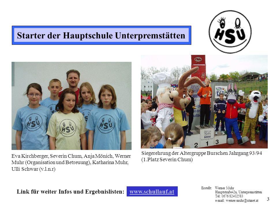 3 Starter der Hauptschule Unterpremstätten Eva Kirchberger, Severin Chum, Anja Mönich, Werner Muhr (Organisation und Betreuung), Katharina Muhr, Ulli