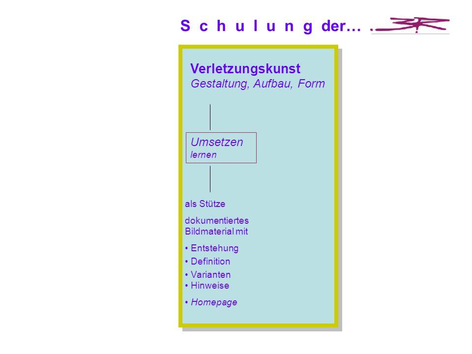 S c h u l u n g der… als Stütze dokumentiertes Bildmaterial mit Entstehung Definition Varianten Hinweise Homepage Verletzungskunst Gestaltung, Aufbau, Form Umsetzen lernen