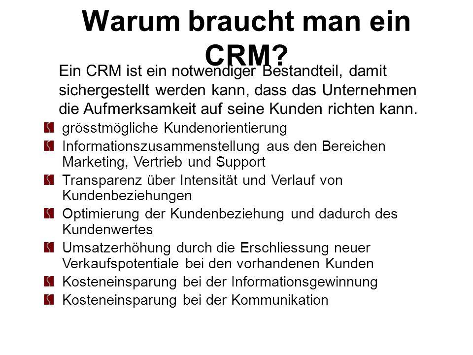 Warum braucht man ein CRM? grösstmögliche Kundenorientierung Informationszusammenstellung aus den Bereichen Marketing, Vertrieb und Support Transparen