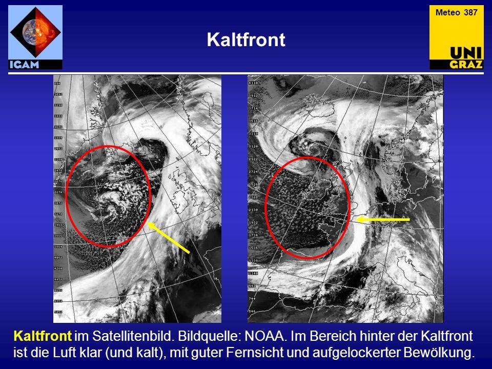 Kaltfront Kaltfront im Satellitenbild. Bildquelle: NOAA. Im Bereich hinter der Kaltfront ist die Luft klar (und kalt), mit guter Fernsicht und aufgelo