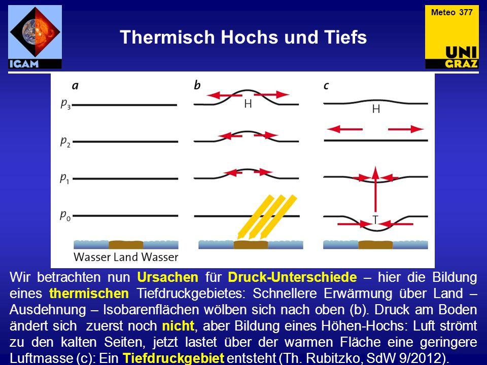 Thermisch Hochs und Tiefs Meteo 377 Wir betrachten nun Ursachen für Druck-Unterschiede – hier die Bildung eines thermischen Tiefdruckgebietes: Schnellere Erwärmung über Land – Ausdehnung – Isobarenflächen wölben sich nach oben (b).