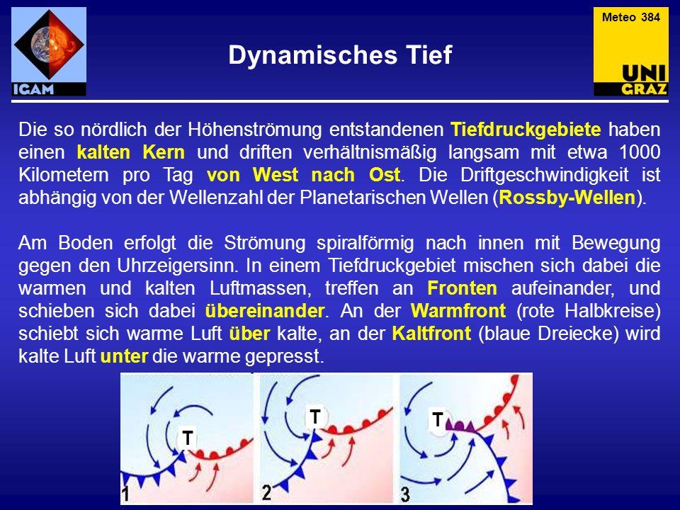 Die so nördlich der Höhenströmung entstandenen Tiefdruckgebiete haben einen kalten Kern und driften verhältnismäßig langsam mit etwa 1000 Kilometern pro Tag von West nach Ost.