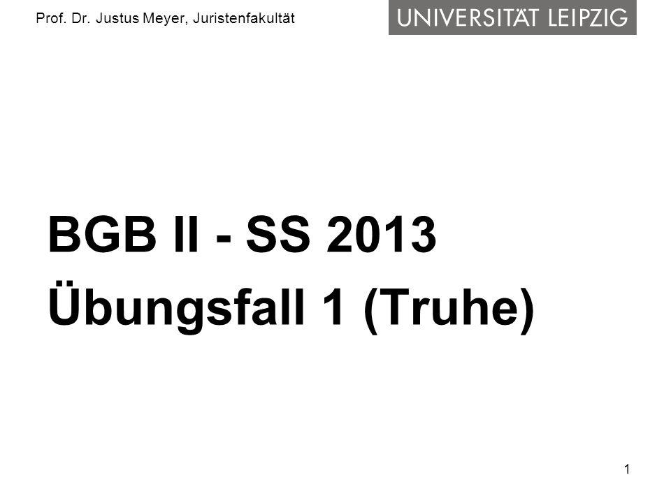 1 Prof. Dr. Justus Meyer, Juristenfakultät BGB II - SS 2013 Übungsfall 1 (Truhe)