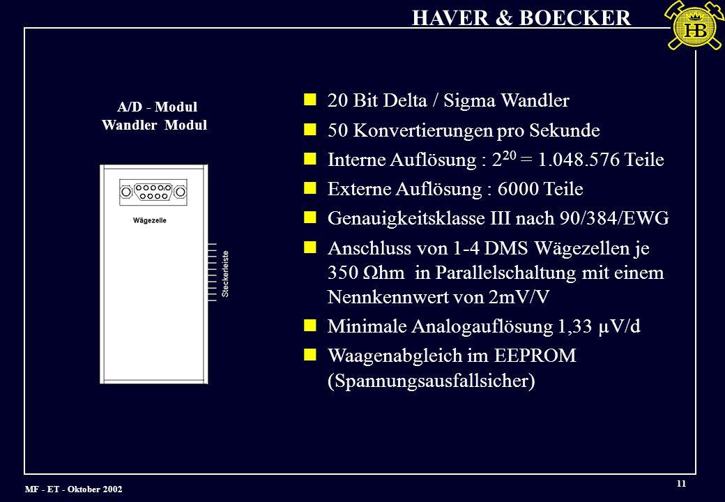 MF - ET - Oktober 2002 HAVER & BOECKER 11 20 Bit Delta / Sigma Wandler 50 Konvertierungen pro Sekunde Interne Auflösung : 2 20 = 1.048.576 Teile Externe Auflösung : 6000 Teile Genauigkeitsklasse III nach 90/384/EWG Anschluss von 1-4 DMS Wägezellen je 350 Ωhm in Parallelschaltung mit einem Nennkennwert von 2mV/V Minimale Analogauflösung 1,33 µV/d Waagenabgleich im EEPROM (Spannungsausfallsicher) A/D - Modul Wandler Modul