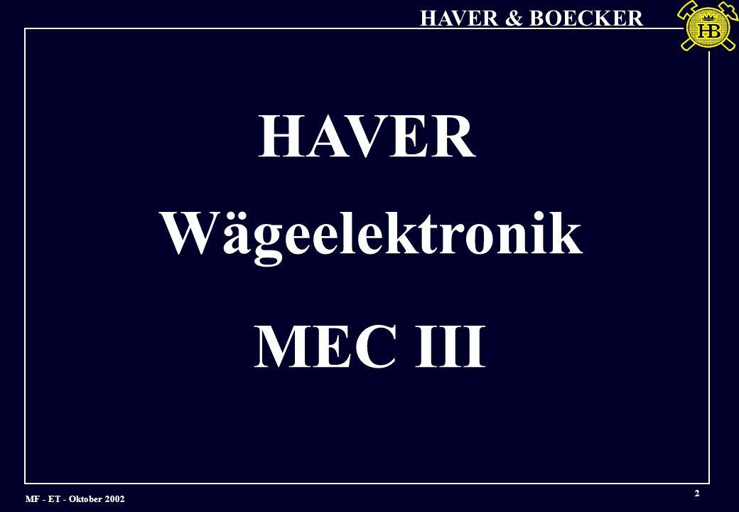 MF - ET - Oktober 2002 HAVER & BOECKER 3 Bedienterminal MEC III (Einbaukompatibel zu MEC II und MEC II-20)