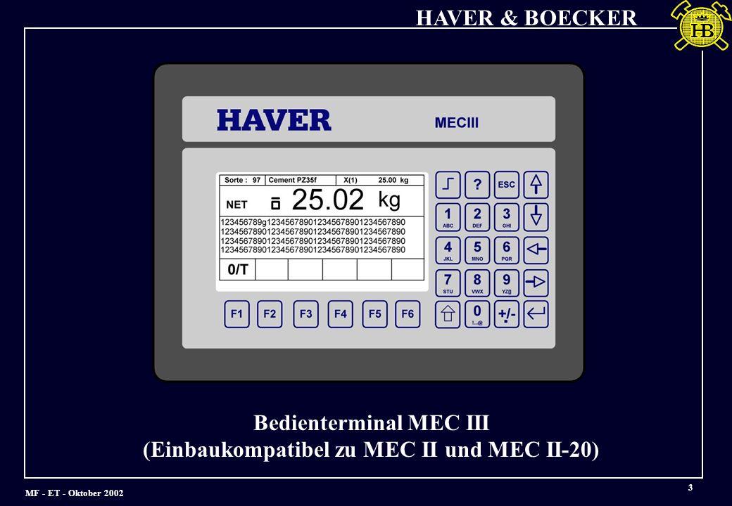 MF - ET - Oktober 2002 HAVER & BOECKER 4 Wägeelektronik MEC III in Modulbauweise Analog-DigitalcCPU - Modul Digital Ein-Ausgabe Modul Wandler Modul