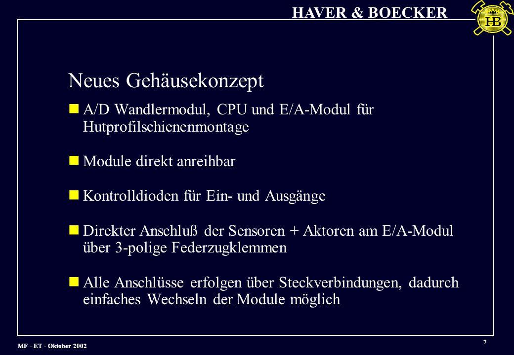 MF - ET - Oktober 2002 HAVER & BOECKER 7 A/D Wandlermodul, CPU und E/A-Modul für Hutprofilschienenmontage Module direkt anreihbar Kontrolldioden für Ein- und Ausgänge Direkter Anschluß der Sensoren + Aktoren am E/A-Modul über 3-polige Federzugklemmen Alle Anschlüsse erfolgen über Steckverbindungen, dadurch einfaches Wechseln der Module möglich Neues Gehäusekonzept