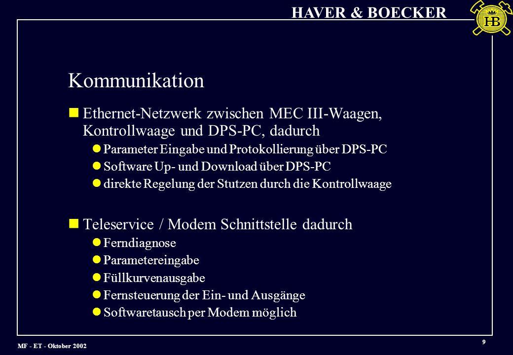 MF - ET - Oktober 2002 HAVER & BOECKER 9 Ethernet-Netzwerk zwischen MEC III-Waagen, Kontrollwaage und DPS-PC, dadurch Parameter Eingabe und Protokollierung über DPS-PC Software Up- und Download über DPS-PC direkte Regelung der Stutzen durch die Kontrollwaage Teleservice / Modem Schnittstelle dadurch Ferndiagnose Parametereingabe Füllkurvenausgabe Fernsteuerung der Ein- und Ausgänge Softwaretausch per Modem möglich Kommunikation