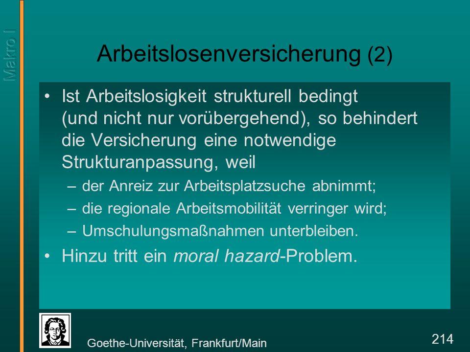 Goethe-Universität, Frankfurt/Main 214 Arbeitslosenversicherung (2) Ist Arbeitslosigkeit strukturell bedingt (und nicht nur vorübergehend), so behindert die Versicherung eine notwendige Strukturanpassung, weil –der Anreiz zur Arbeitsplatzsuche abnimmt; –die regionale Arbeitsmobilität verringer wird; –Umschulungsmaßnahmen unterbleiben.