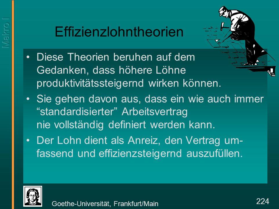 Goethe-Universität, Frankfurt/Main 224 Effizienzlohntheorien Diese Theorien beruhen auf dem Gedanken, dass höhere Löhne produktivitätssteigernd wirken können.