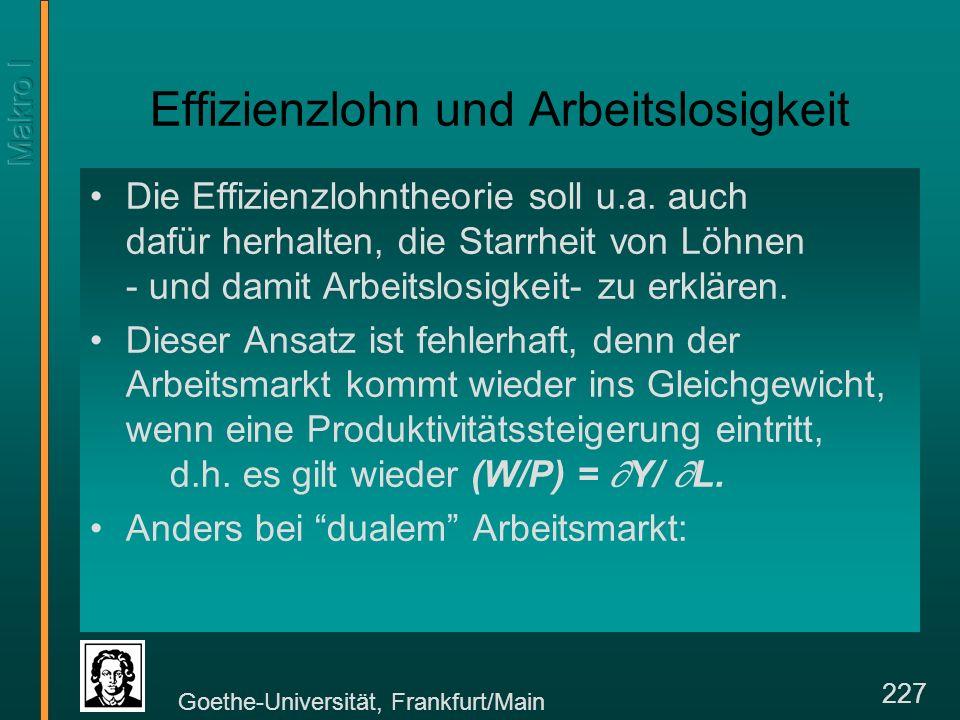 Goethe-Universität, Frankfurt/Main 227 Effizienzlohn und Arbeitslosigkeit Die Effizienzlohntheorie soll u.a.