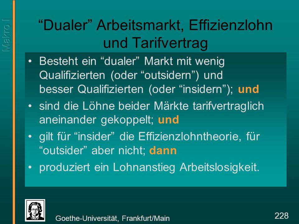 Goethe-Universität, Frankfurt/Main 228 Dualer Arbeitsmarkt, Effizienzlohn und Tarifvertrag Besteht ein dualer Markt mit wenig Qualifizierten (oder outsidern) und besser Qualifizierten (oder insidern); und sind die Löhne beider Märkte tarifvertraglich aneinander gekoppelt; und gilt für insider die Effizienzlohntheorie, für outsider aber nicht; dann produziert ein Lohnanstieg Arbeitslosigkeit.