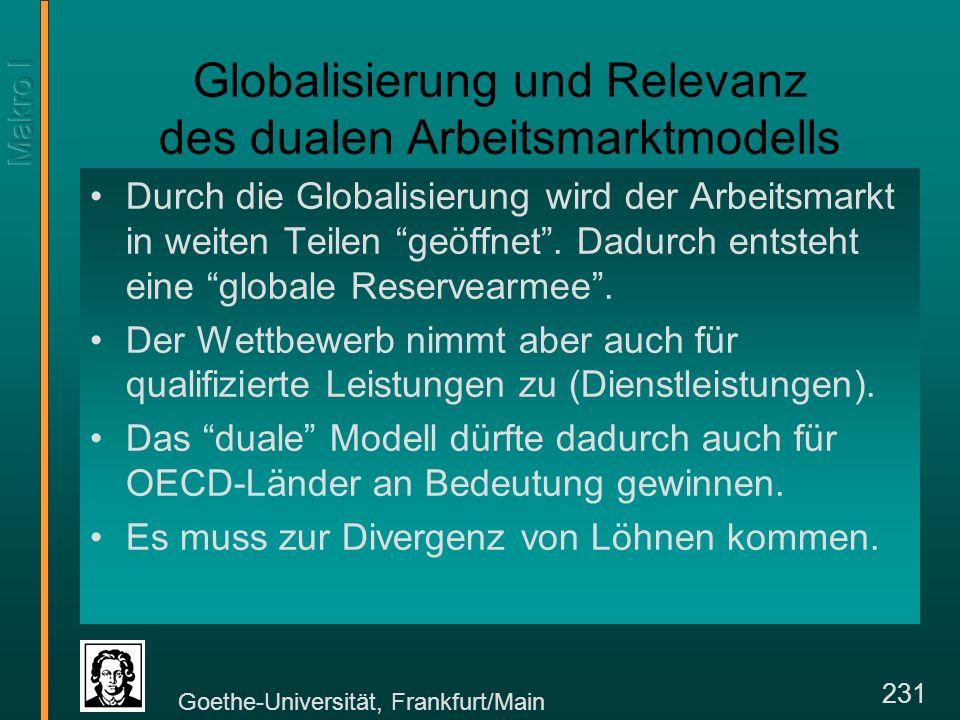 Goethe-Universität, Frankfurt/Main 231 Globalisierung und Relevanz des dualen Arbeitsmarktmodells Durch die Globalisierung wird der Arbeitsmarkt in weiten Teilen geöffnet.