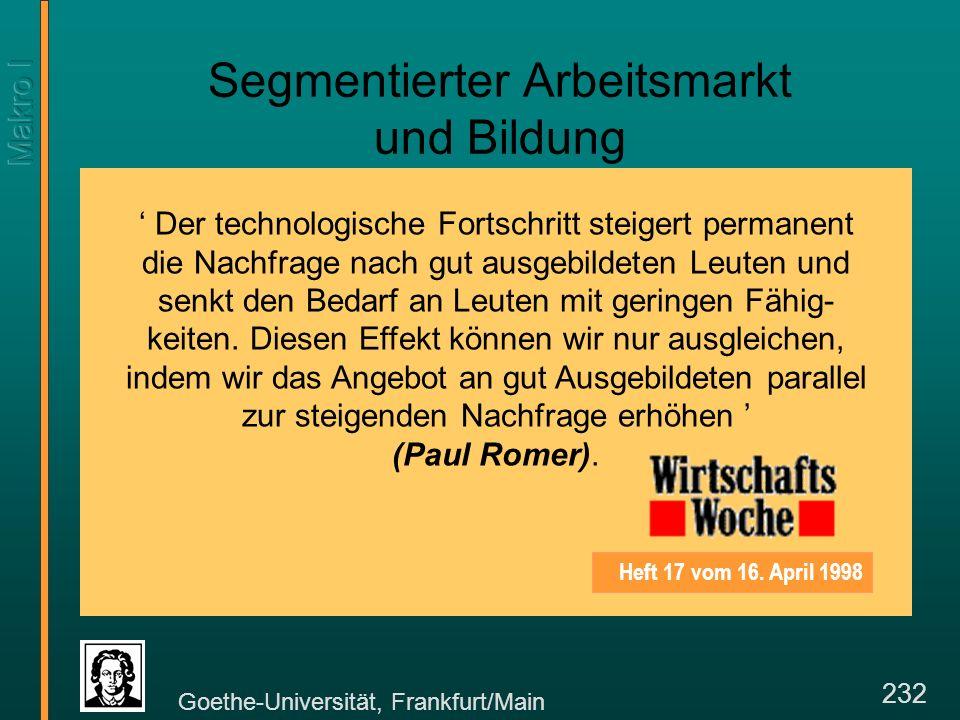 Goethe-Universität, Frankfurt/Main 232 Segmentierter Arbeitsmarkt und Bildung Heft 17 vom 16.