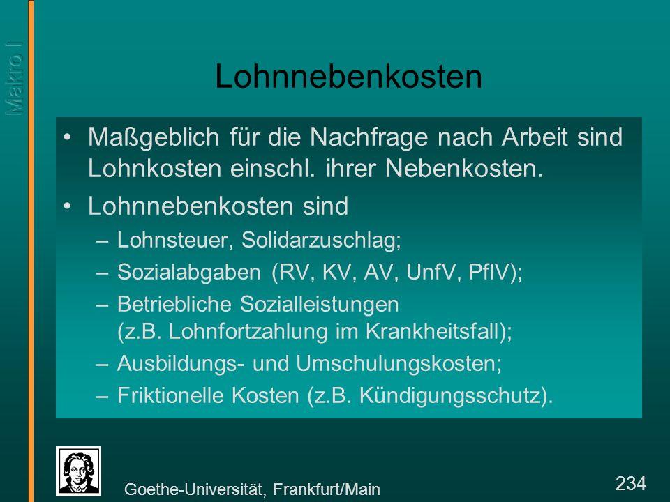 Goethe-Universität, Frankfurt/Main 234 Lohnnebenkosten Maßgeblich für die Nachfrage nach Arbeit sind Lohnkosten einschl.