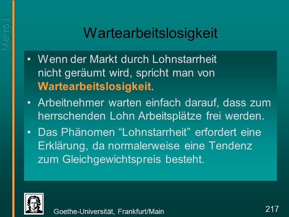 Goethe-Universität, Frankfurt/Main 217 Wartearbeitslosigkeit Wenn der Markt durch Lohnstarrheit nicht geräumt wird, spricht man von Wartearbeitslosigkeit.