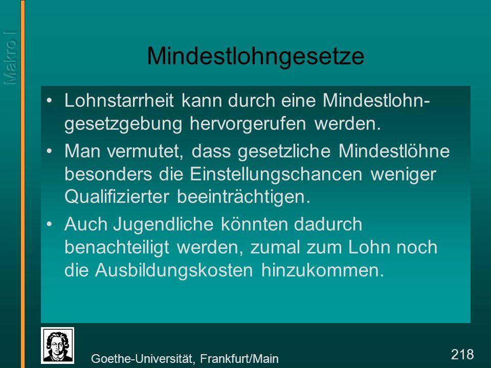 Goethe-Universität, Frankfurt/Main 229 Dualer Arbeitsmarkt, Effizienzlohn und Tarifvertrag L1L1 L2L2 Vertraglich gekoppelt (W/P) 1 Lohnzuwachs wird durch Effizienz validiert Arbeitslosigkeit Beschäftigungszuwachs (W/P) 2