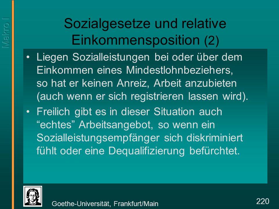 Goethe-Universität, Frankfurt/Main 220 Sozialgesetze und relative Einkommensposition (2) Liegen Sozialleistungen bei oder über dem Einkommen eines Mindestlohnbeziehers, so hat er keinen Anreiz, Arbeit anzubieten (auch wenn er sich registrieren lassen wird).